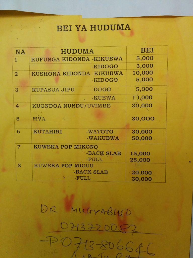 Procedure Price List Mnazi Moja