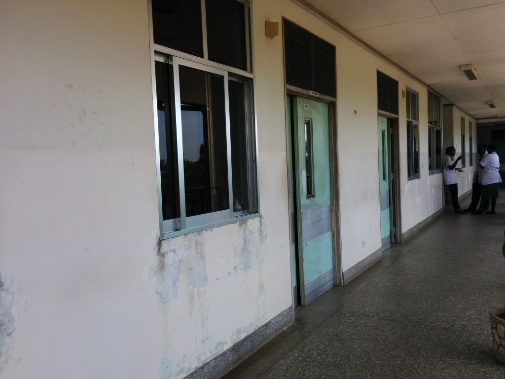 A corridor of private rooms, Muhimbili National Hospital